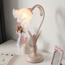 Korean Garden Flower Table Lighting Single Opal Frosted Glass Night Stand Lamp in Green/Pink