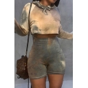Stylish Women's Set Tie Dye Pattern Drawstring Long Sleeves Regular Fitted Cropped Hoodie with High Waist Shorts