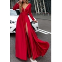 Fancy Women's A-Line Dress Solid Color Pleated Front Slit V Neck Long Sleeves Regular Fitted Long A-Line Dress