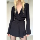 Trendy Women's Blouse Dress Solid Color Wrap Front Long Flare Cuff Sleeves Shoulder Pad Regular Fitted Blouse Dress with Waist-Tie