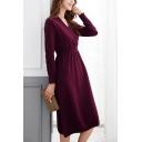Elegant Women's A-Line Dress Plain Wrapped Waist Banded V Neck Long Sleeves Regular Fitted Midi A-Line Dress