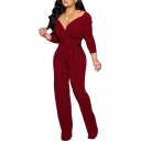 Retro Womens Jumpsuit Solid Color Tie-Waist Invisible Zipper Back Long Sleeve Surplice Neck Slim Fitted Jumpsuit