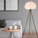 Grey/Pink/White Dome Floor Light Nordic Single-Bulb Feather Stand Up Lamp with Black/White/Gold Tripod