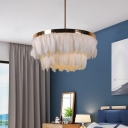 Layered Round Feather Chandelier Pendant Modern 16
