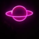 Ringed Planet USB Wall Night Light Kids Plastic White Battery Powered LED Night Lamp in Pink/Blue Light