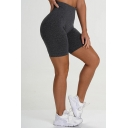 Sporty Women's Shorts Heathered Contrast Stitching High Elastic Waist Slim Fitted Short