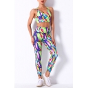 Fancy Women's Fitness Set Art Paint Printed Multi Color Crew Neck Sleeveless Slim Fitted Crop Top with High Waist Skinny Pants Yoga Co-ords