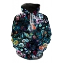 Stylish Mens Long Sleeve Drawstring All Over Flower 3D Printed Pouch Pocket Loose Hoodie