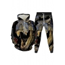 Mens 3D Co-ords Stylish Dinosaur Dragon Pattern Long Sleeve Hoodie Ankle Length Tapered Pants Slim Fit Jogger Co-ords
