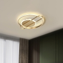 Round/Square LED Ceiling Lighting Contemporary Metal Black/Gold Flush Mount Light in Warm/White Light for Bedroom