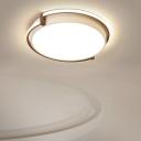 Kids Bedroom LED Ceiling Mount Lamp Minimalism Grey/White Flush Light with Round Acrylic Shade, 12
