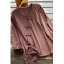 Vintage Women's Blouse Solid Color Drawstring Ruched Button Detail Contrast Trim V Neck Long Sleeves Blouse