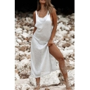 Beach Style Women's Tank Dress Solid Color Side Slits Backless Scoop Neck Knitted Tank Dress