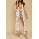 Basic Womens Jacket Hollowed-out Crochet Fringe Design High Split-Side Open Front Loose Fitted Short Sleeve Longer Length Cover-up Beach Jacket