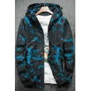Fall Collection Camouflage Printed Long Sleeve Zip Up Hooded Coat