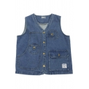 Basic Womens Vest Label Patch Flap Pocket Button up V Neck Sleeveless Regular Fit Denim Vest