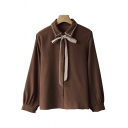 Vintage Womens Shirt Bow-Tie Button Detail Long Sleeve Embroidered Turn-down Collar Regular Fit Shirt