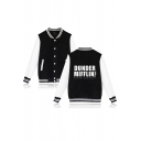 Womens Jacket Trendy Letter Dunder Mifflin Print Striped-Trim Button down Loose Fit Long Contrast-Sleeve Stand Collar Varsity Jacket