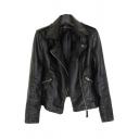 Womens Jacket Unique Solid Color Zipper Front Wide Lapel Zipper Detail Long Sleeve Slim Fit Leather Jacket