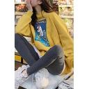 Girls Cute Hippo Letter COLMAN'S MUSTARD Print Long Sleeve Loose Pullover Sweatshirt