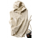 Stylish Women's Knit Vest Solid Color Cable Knit Drawstring Hooded Ribbed Trims Sleeveless Relaxed Fit Knit Vest