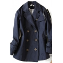 Popular Women's Coat Plain Double-Breasted Notched Lapel Collar Long-sleeved Regular Fitted Trench Coat