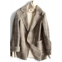 Winter Warm Jacket Plaid Pattern Pocket Details Button-down Notched Collar Long Sleeves Loose Fitted Suit Jacket