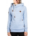 Unique Womens Hoodie Horizontal Pinstripe Pattern Leather-Patch Thick Slim Fitted Long Sleeve Hoodie