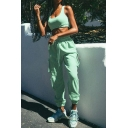 Sporty Women's Set Solid Color Strap Sleeveless Slim Fitted Tank Top with Pocket Detailed Drawstring Waist Pants Co-ords