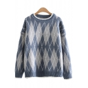 Fashionable Women's Sweater Argyle Diamond Pattern Rib-Knit Trim Crew Neck Long Sleeves Relaxed Fit Sweater