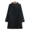 Basic Women's Trench Coat Solid Color Button Detailed Side Pockets Turn-down Collar Long Sleeves Relaxed Fit Trench Coat