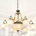 Frosted White Glass Bronze Drop Lamp Semi-Open Flower 9-Light Traditional Style Chandelier Light
