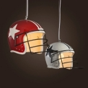Football Helmet Pendant Lighting Fixture Decorative Resin 1 Bulb Red/White Ceiling Suspension Lamp