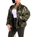 Unique Women's Jacket Camo Pattern Patchwork Sequined Front Pockets Drawstring Hem Zip down Stand Collar Long-sleeved Relaxed Fitted Casual Jacket
