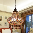 Mosaic Glass Gourd Drop Pendant Bohemian Style 1 Bulb Bedside Hanging Lamp in White with Fringe, 7