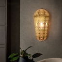 Brass Dome Flush Mount Wall Light Turkish Metal Single Corridor Hollowed-out Lantern Wall Sconce