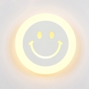 Smiling Emoji Bedroom Flush Wall Sconce Acrylic Simple LED Wall Mounted Lamp in Warm/White Light