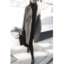 Leisure Women's Coat Solid Color Flap Pocket Open Front Notched Collar Long-sleeved Regular Fitted Woolen Coat