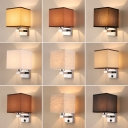 Cuboid Living Room Sconce Light Fabric 1 Bulb Modern Style Wall Mounted Lamp in Beige/Coffee/Flaxen