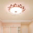 Pastoral Bowl Shade Ceiling Light 1 Bulb White Glass Flush Mounted Lamp with Handmade Rose Branch in Pink