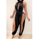 Stylish Women's Jumpsuit Solid Color Velvet Drawstring Detail Hollow out Round Neck Sleeveless Regular Fitted Jumpsuit