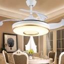 4 Blades Restaurant LED Ceiling Fan Light Minimalist White-Gold Semi-Flush Mount with Round Acrylic Shade, 19