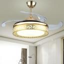 Gold Nest Round LED Semi Flush Light Postmodern Metal 4-Blade Pendant Fan Lamp for Bedroom, 19
