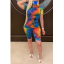 Fancy Women's Set Tie Dye Pattern Crew Neck Short Sleeves Slim Fitted T-Shirt with Shorts Co-ords