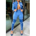 Stylish Womens Set Contrast Panel Frayed Design Color Block Button down Flap Pocket Turn-down Collar Regular Fitted Denim Jacket with High Waist Long Jeans Co-ords