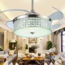 Crystal Encrusted Drum Ceiling Fan Light Stylish Modern 19