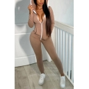 Classic Womens Jumpsuit Plain Zipper Front Long Sleeve Hooded Skinny Fitted Jumpsuit