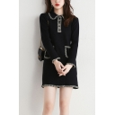 Elegant Womens Sweater Dress Contrast Stitching Button Detail Front Pockets Peter Pan Collar Long-sleeved Regular Fitted Sweater Dress