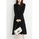 Stylish Womens Sweater Dress Solid Color Pleated Detail Pearl Button Peter Pan Collar Long-sleeved Regular Fitted Sweater Dress