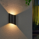 Curved Up and Down LED Wall Sconce Simple Aluminum Patio Wall Mount Lamp in Black